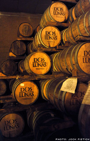 Barrels of Dos Lunas tequila sitting in the tasting room at the Tequilas del Señor distillery. Yumm.