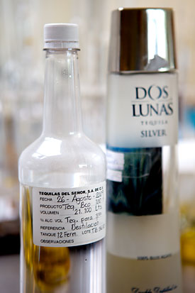 All tequilas produced here are run through the lab at Tequilas del Señor, including this bottle of Dos Lunas Silver.