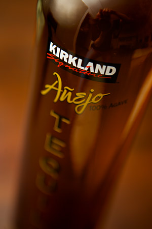 Costco Añejo Tequila, with the Kirkland brand name displayed. We spotted this in the store and just had to try it.