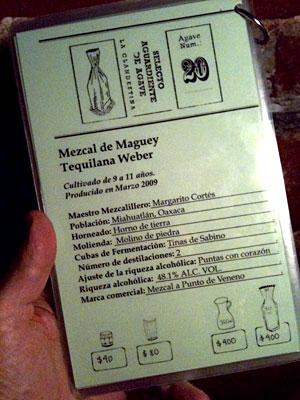 mezcal-menu